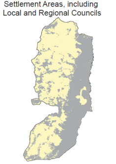 Settlement areas in the West Bank, including local and regional councils marked in grey (UN OCHA, 2009)