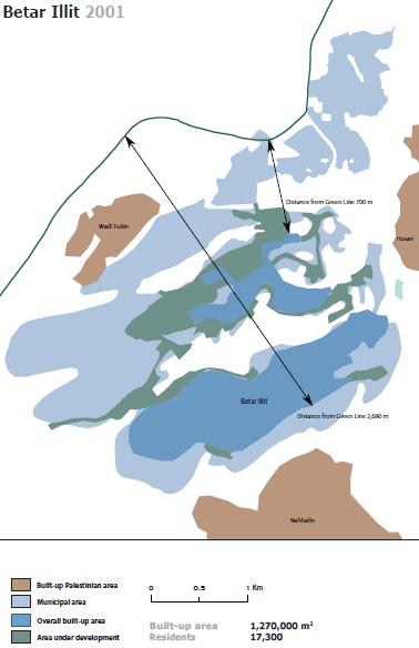 Beitar Illit settlement: built-up area versus municipal area (B'Tselem, 2010)