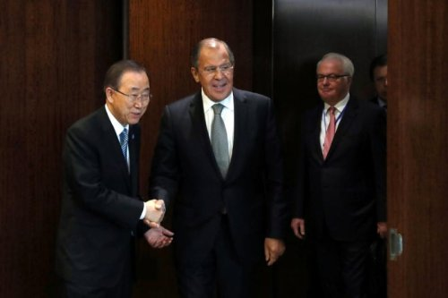 United Nations Secretary-General Ban Ki-moon (L) and Russian Foreign Minister Sergey Lavrov in New York, U.S. on September 23 2016 [REUTERS/Andrew Kelly]