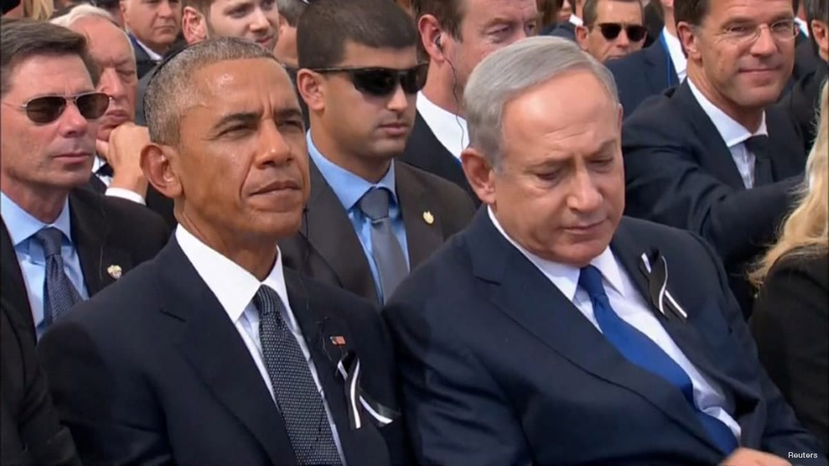 Israel's Prime Minister Benjamin Netanyahu and U.S. President Barack Obama on September 30, 2016 [REUTERS/Pool via Reuters TV]