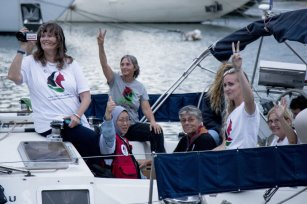 "Activists of Two sailing boats, Amal-Hope and Zaytouna-Oliva, with only female activists on board, make preparations before set off for the Gaza Strip from the port of Barcelona under the banner ""The Women's Boat to Gaza"" to break the Israeli blockade on Gaza on 14 September, 2016 in Barcelona, Spain [Albert Llop/Anadolu Agency]"