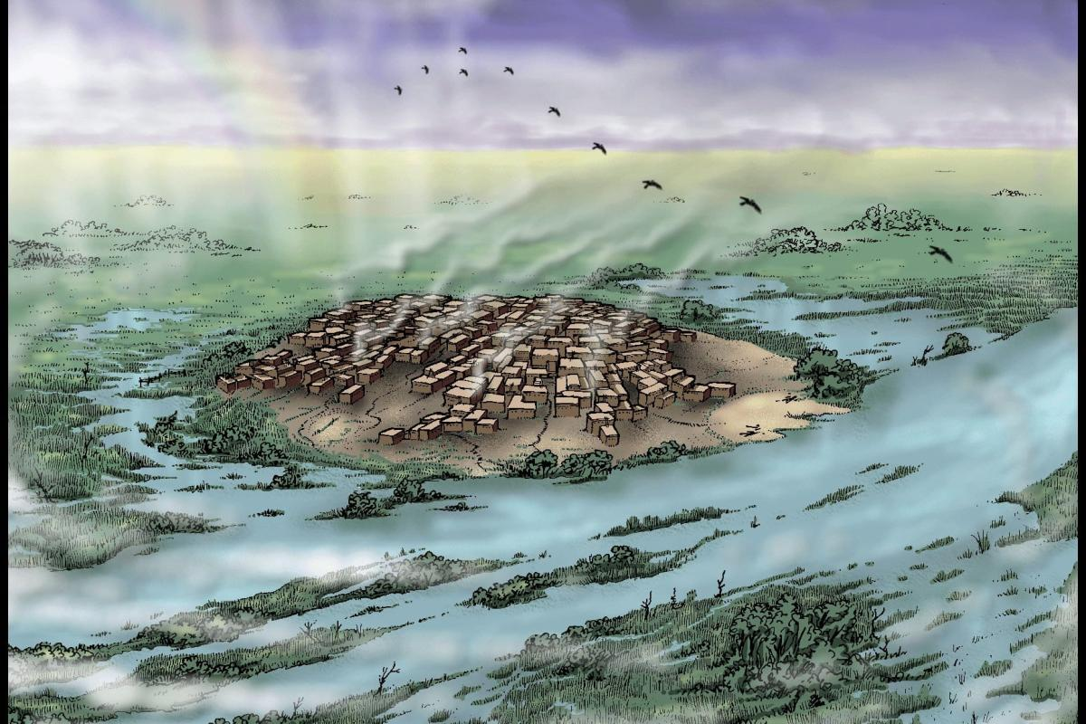 Artists rendering of stone age settlement at Çatalhöyük [Remixing Çatalhöyük/Flickr]