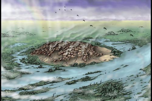 Artists rendering of stone age settlement at Çatalhöyük [Remixing Çatalhöyük/Flickr]