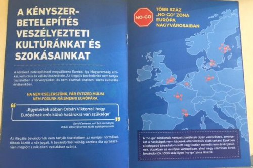 """A page from an anti-migrant booklet passed out by the Hungarian government. The title on the left side reads, """"The forcible relocation endangers our culture and traditions."""" On the right side it says, """"Several hundred 'no-go' areas in Europe's big cities."""" [Human Rights Watch]"""