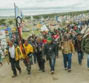 Protesters demonstrate against the Energy Transfer Partners' Dakota Access oil pipeline near the Standing Rock Sioux reservation in Cannon Ball, North Dakota