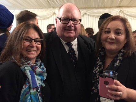 Campaign4Truth co-founders Sharon Klaff and Ambrosine Shitrit, pictured with Eric Pickles during a Conservative Friends of Israel parliamentary reception in January 2016. (Source: Facebook)
