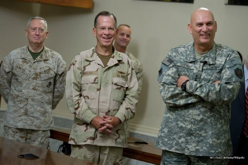 US Marine Corps Gen. Gen. James Mattis, commander of US Central Command; Chairman of the Joint Chiefs of Staff Navy Adm. Mike Mullen; and Army Gen. Raymond T. Odierno, commander of US Forces [MC1 Chad J. McNeeley/Wikipedia]