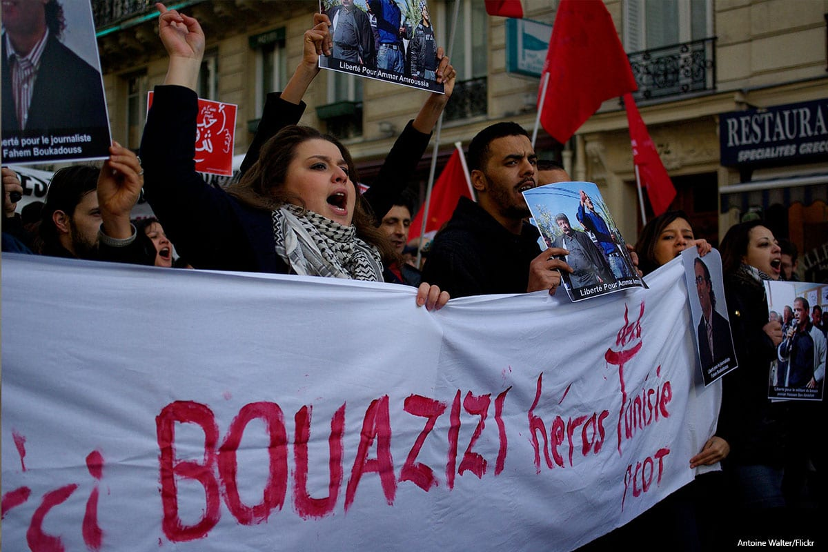 Protesters in support for Mohamed Bouazizi on 15th January 2011 [Antoine Walter/Flickr]