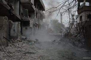 Syrian regime missiles destroy streets of Damascus, Syria on 10 November 2016. [Firas Abdullah]
