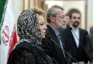 TEHRAN, IRAN - NOVEMBER 13: Russian Chairman of the Federation Council Valentina Matviyenko (L) and Chairman of the Parliament of Iran, Ali Larijani (R) hold a joint press conference at the Parliament building in Tehran, Iran on November 13, 2016. ( Fatemeh Bahrami - Anadolu Agency )