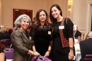 Jehan Bseiso, winner of the Creative Award with Ramzy Baroud and Samah Sabawi next to Iraqi novelist Haifa Zangana at Palestine Book Awards [Middle East Monitor]