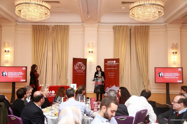 Professor Karma Nabulsi seen addressing the audience at the Palestine Book Awards 2016 [Middle East Monitor]