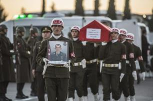 Soldiers carry the coffin of Lieutenant Zafer Er at Ahmet, transferring it from Gaziantep to Ankara for his funeral. A Syrian regime airstrike killed 3 Turkish soldiers on November 24, 2016 [Kerem Kocalar / Anadolu Agency]