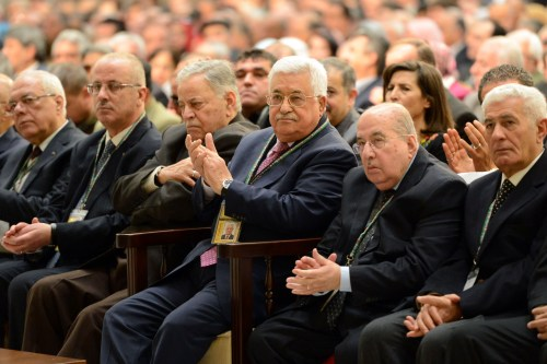Palestinian President Mahmoud Abbas (Third R) attends the 7th General Assembly meeting of Fatah Movement at Palestinian Prime Ministry office Mukataa in West Bank on November 29 2016 [Palestinian Presidency / Handout - Anadolu Agency]