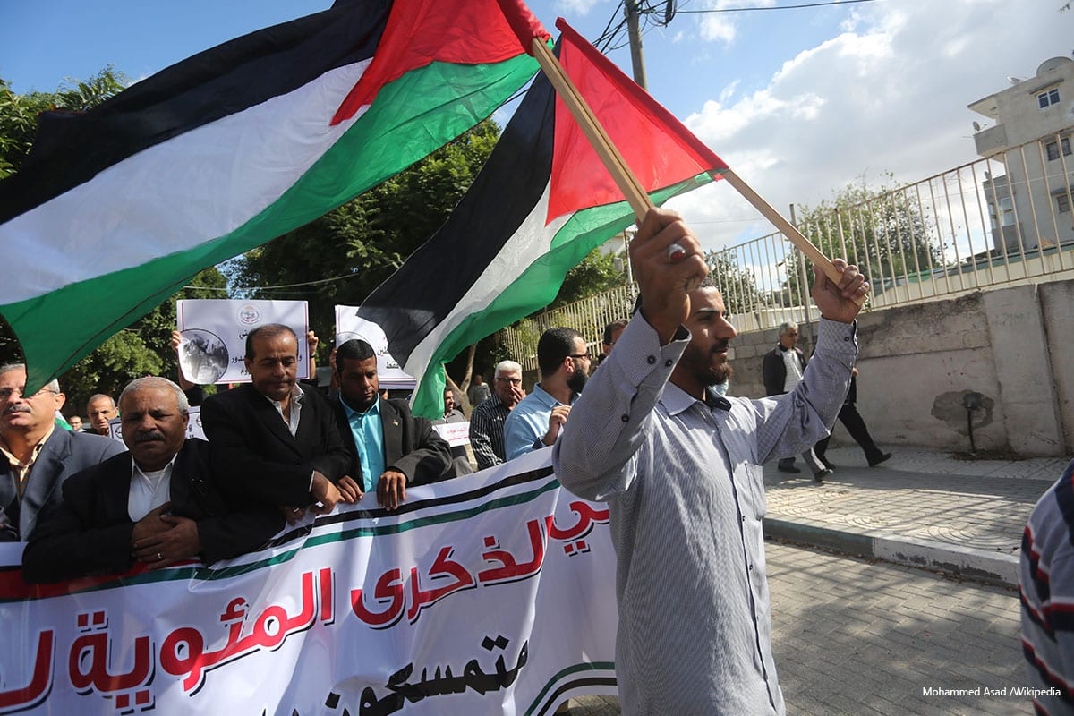 Palestinians protest to mark the 99th anniversary of the Balfour Declaration on November 01, 2016 [Mohammed Asad /Wikipedia]