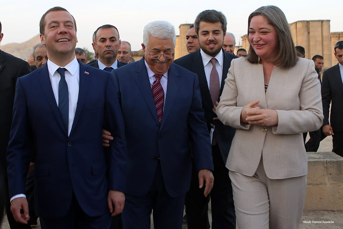 Russian Prime Minister Dmitry Medvedev visits Hisham's Palace at Khirbat al-Mafjar in Jericho, West Bank on November 11 2016. Palestinian President Mahmoud Abbas accompanied Medvedev during his visit [Shadi Hatem/Anadolu]