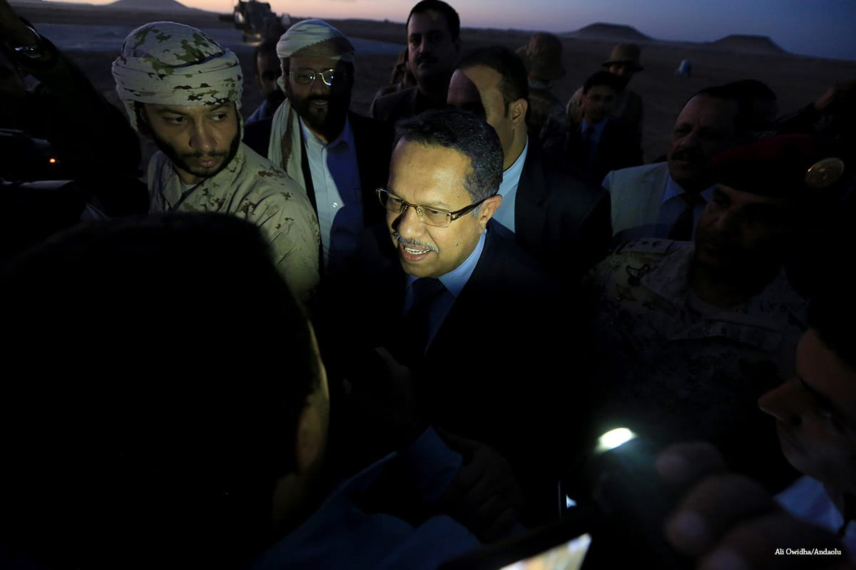 Yemeni Prime Minister Ahmed Obeid Bin Daghr visits Marib after the city was rescued from Houthi movement, in Yemen on 15 November, 2016 [Ali Owidha/Andaolu]