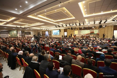 Fatah members attend the 7th General Assembly meeting of Fatah Movement at Palestinian Prime Ministry office Mukataa in Ramallah, West Bank on November 29 2016 [Issam Rimawi/Anadolu]