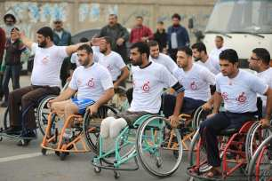 Image of the Gaza disabled marathon held in Gaza on 29th November 2016 [Mohammed Asad/Middle East Monitor]