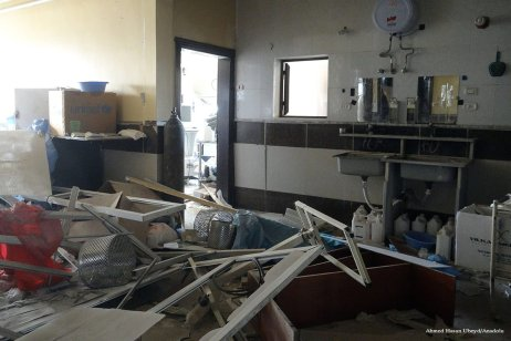An interior view of the damaged field hospital is seen after airstrike in Aleppo on November 14 2016. [Ahmed Hasan Ubeyd/Anadolu]