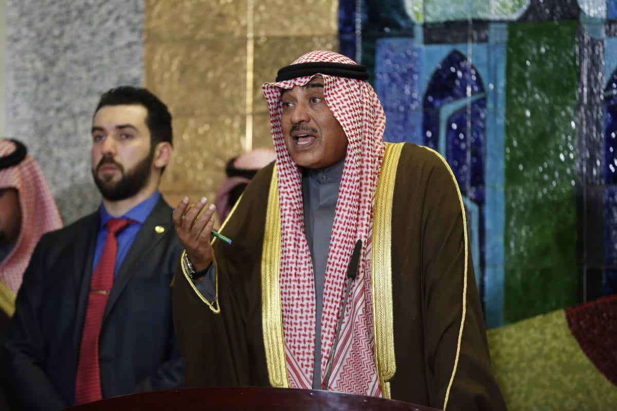 BAGHDAD, IRAQ: Foreign Minister of Kuwait, Sabah Al-Khalid Al-Sabah, and Iraqi Foreign Minister Ibrahim Al-Jaafari (not seen) hold a press conference after signing an agreement on border gates, security and aviation cooperation in Baghdad, Iraq, on 28 December 2016. [Murtadha Sudani/Anadolu Agency]