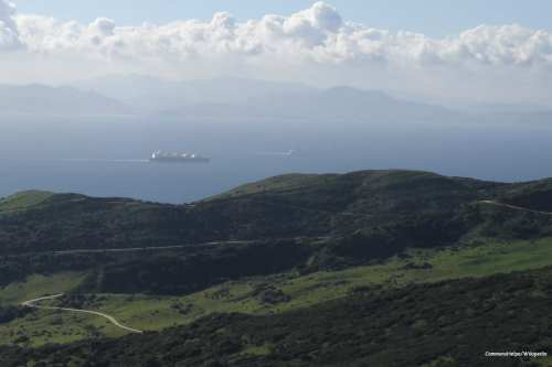 A view across the Strait of Gibraltar taken from the hills above Tarifa, Spain with Morocco on the other side [CommonsHelper/Wikipedia]