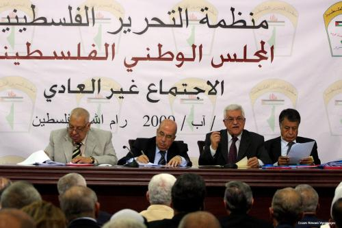 Image of a Palestinian National council meeting in the West Bank city of Ramallah [Issam Rimawi/Apaimages]