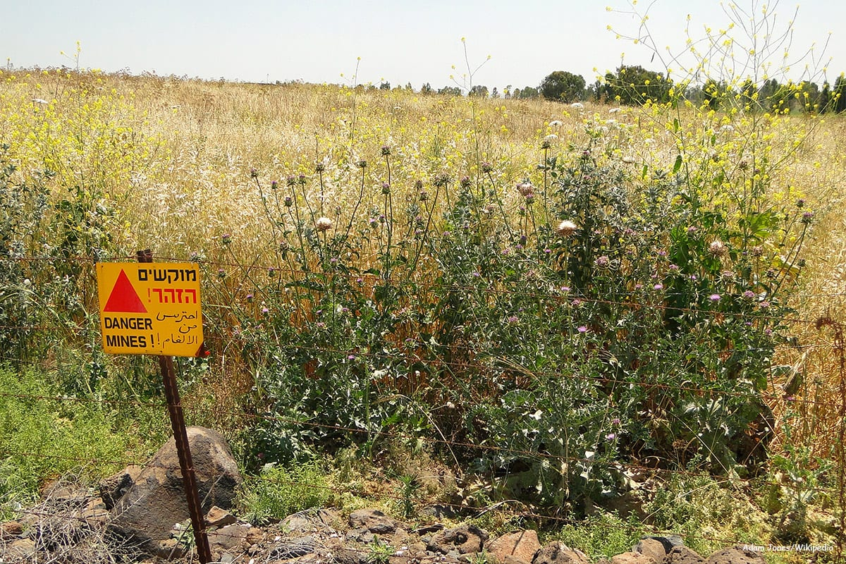 Image of a field with landmines warning sign [Adam Jones/Wikipedia]