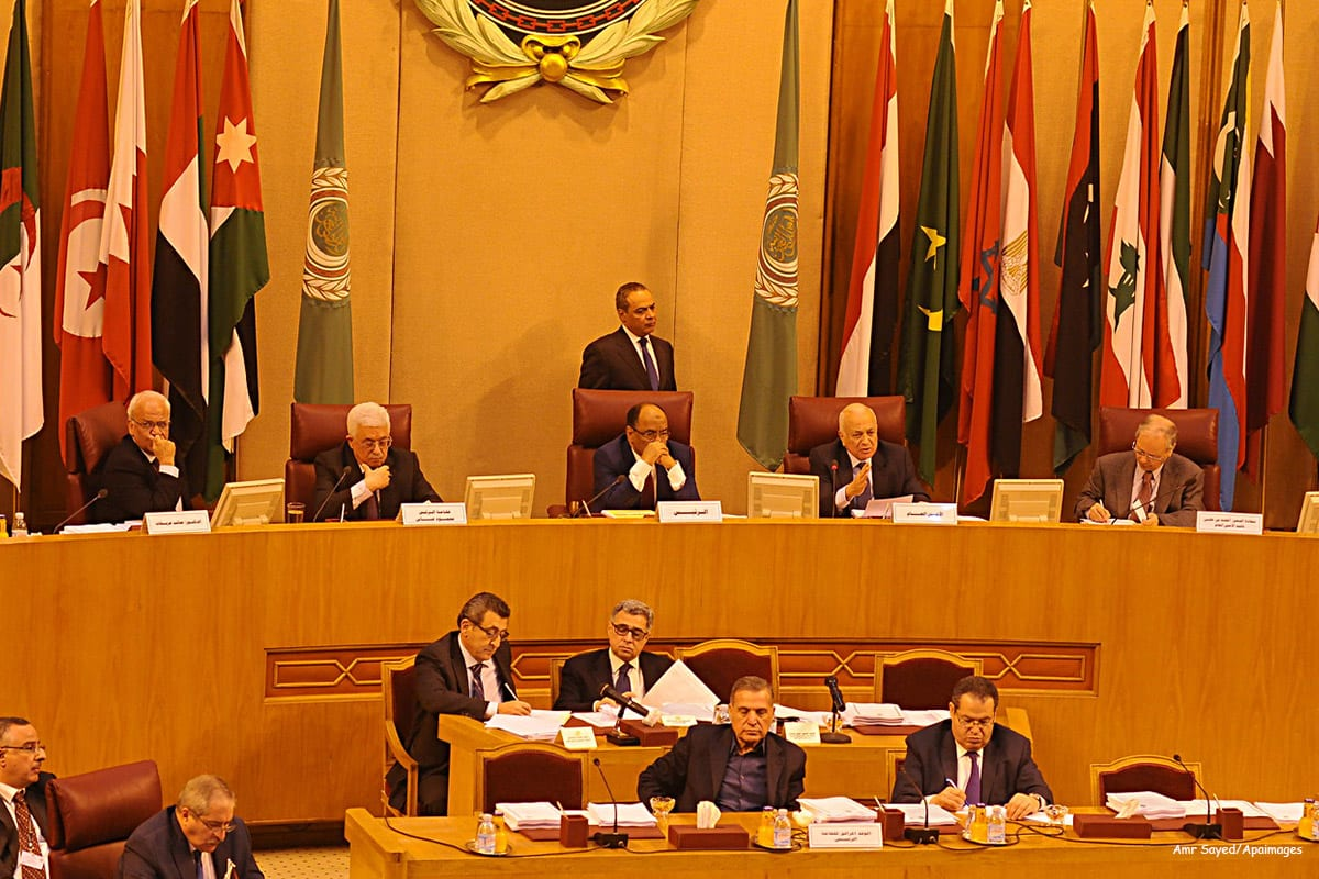 Image of a meeting at the Arab League headquarters in Cairo, Egypt [Amr Sayed/Apaimages]