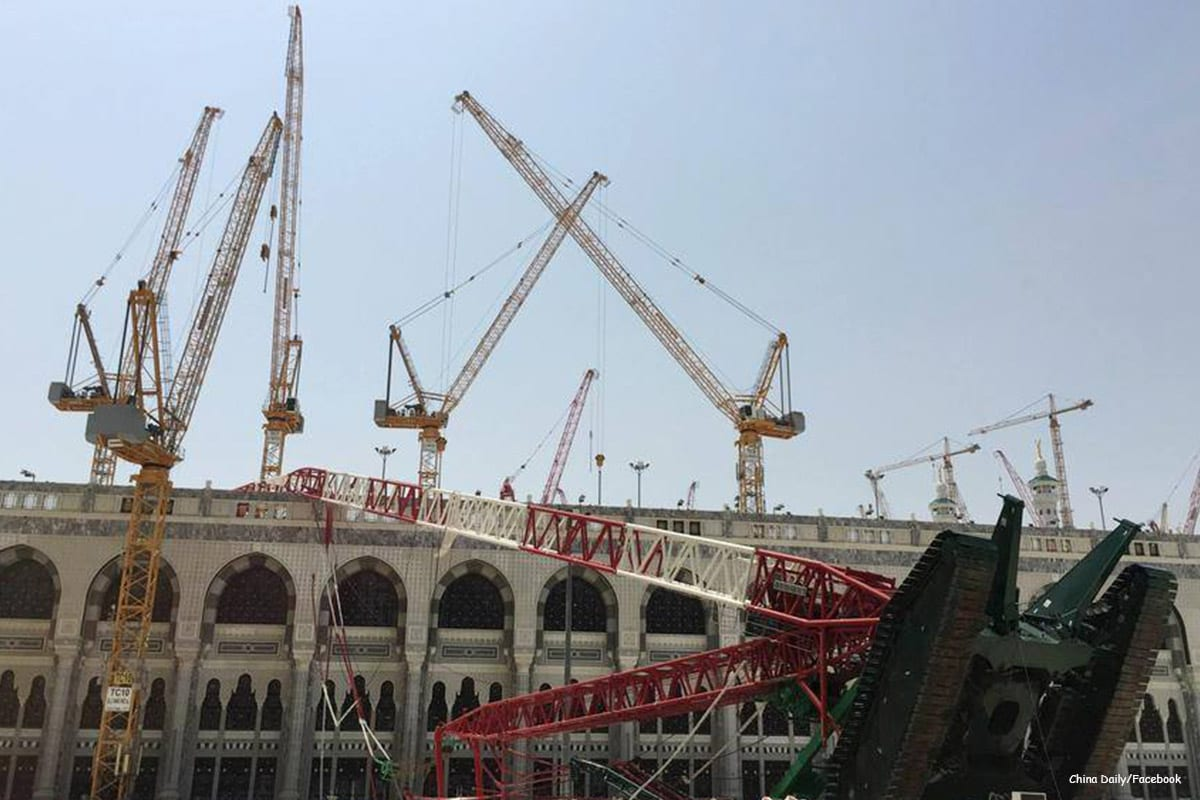 Image of the construction crane that crashed in the Grand Mosque in Mecca, Saudi Arabia September 12 2015 [China Daily/Facebook]