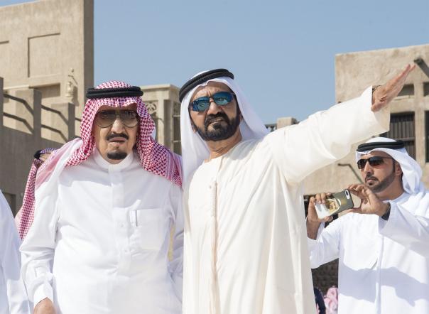 King of Saudi Arabia Salman bin Abdulaziz (L) visits Sheikh Saeed Al Maktoum House with Vice President of the United Arab Emirates Mohammed bin Rashid Al Maktoum (R) in Dubai, United Arab Emirates on 5 December, 2016 [Bandar Algaloud/ Anadolu Agency]