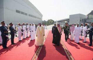 DUBAI, UAE - DECEMBER 5: King of Saudi Arabia Salman bin Abdulaziz (R) is bidden farewell by Vice President of the United Arab Emirates Mohammed bin Rashid Al Maktoum (L) at Dubai International Airport in Dubai, United Arab Emirates on December 5, 2016. ( Bandar Algaloud/ Saudi Kingdom/ Handout - Anadolu Agency )