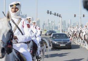 DOHA, QATAR - DECEMBER 5: Cavalier units accompany King of Saudi Arabia Salman bin Abdulaziz (not seen) during his visit in Doha, Qatar on December 5, 2016. ( Bandar Algaloud/ Saudi Kingdom/ Handout - Anadolu Agency )