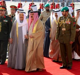 """MANAMA, BAHRAIN - DECEMBER 6: Emir of Kuwait, Sheikh Sabah IV Ahmad Al-Jaber Al-Sabah is welcomed by the King of Bahrain, Hamad bin Isa Al Khalifa upon his arrival at Sakhir Air Base in Manama, Bahrain on December 6, 2016. King of Saudi Arabia, Salman bin Abdulaziz Al Saud will attend the Gulf Cooperation Council member states"""" preparatory meeting. ( Stringer - Anadolu Agency )"""