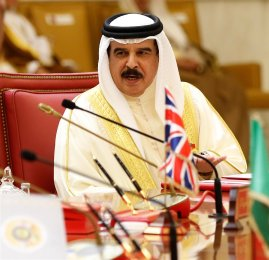 King of Bahrain, Hamad bin Isa Al Khalifa attends the closing session of the 37th Leaders Summit by Gulf Cooperation Council member states in Manama, Bahrain on 7 December 2016 [Stringer/Anadolu Agency]