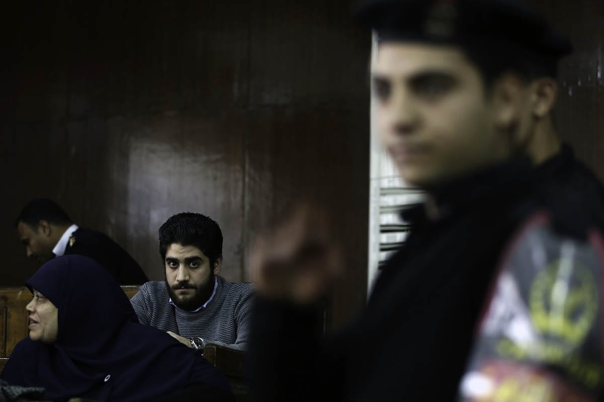 Abdullah Morsi, the son of ousted Egyptian president Mohamed Morsi is seen during the trial over the breaking up the Rabaa Al-Adawiyyah protests, at the police academy in Cairo, Egypt on 10 December 2016 [Moustafa Elshemy / Anadolu Agency]