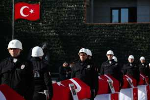 Funeral ceremony held for the casualties of the Istanbul terror attacks at Istanbul Police Department headquarters in Istanbul, Turkey on December 11, 2016 [Arif Hüdaverdi Yaman / Anadolu Agency]
