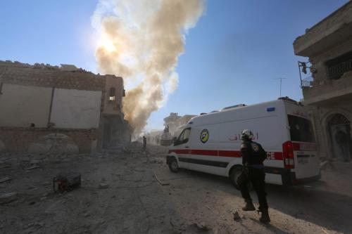 Smoke rises after a warcraft belonging to either the Assad Regime or the Russian airforce carried out an airstrike over residential areas of Maarrat al-Nu'man district of Idlib, Syria on December 11, 2016 [Mouhamed karkas / Anadolu Agency]