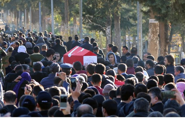Funeral ceremony is held for police officer Suleyman Sorkut, who was martyred during Istanbul terror attacks, in Siverek district of Sanliurfa, Turkey on December 11, 2016 [ Mehmet Fatih Aslan / Anadolu Agency]