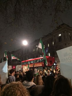 LONDON, UNITED KINGDOM - DECEMBER 13: A group of people gathered, as they protest Assad regime forces' and its supporters' attacks on civilians and the humanitarian plight in Aleppo, on December 13, 2016 in London, United Kingdom. ( Stringer - Anadolu Agency )
