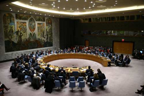 Image of the UN Security Council resolution that called for Israel to stop settlement activities on Palestinian territories on December 23 2016 [Volkan Furuncu / Anadolu Agency]
