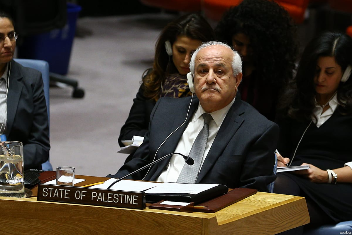 Palestinian representative to the UN Riyad Mansour attends the United Nations Security Council meeting in New York, United States on December 23, 2016 [Volkan Furuncu / Anadolu Agency]