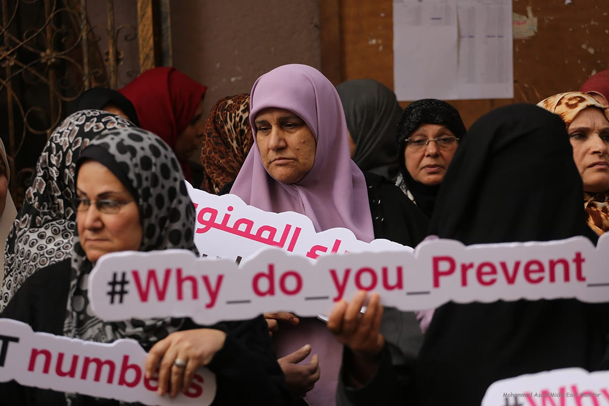 Female cancer patients in the Gaza Strip go on hunger strike in protest of an Israeli decision not to allow them to travel through the Erez crossing to seek medical care in Israel on December 21, 2016 [Mohammed Asad/Midle East Monitor]