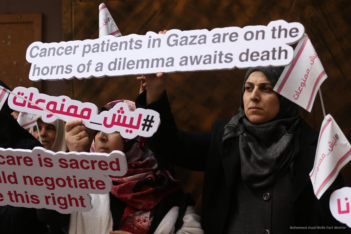 Female cancer patients in the Gaza Strip go on hunger strike in protest of an Israeli decision not to allow them to travel through the Erez crossing to seek medical care in Israel [Mohammed Asad/Midle East Monitor]