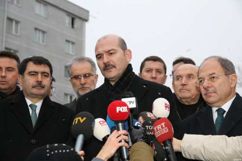 Turkish Minister of Interior, Suleyman Soylu (3rd L) speaks to media as Turkish Minister of Health, Recep Akdag (R) stands next to him in front of the Sisli Etfal Hospital where some of the wounded victims hospitalized after an armed terror attack staged at a nightclub, on January 01, 2017 in Istanbul, Turkey [Yasin Aras / Anadolu Agency]