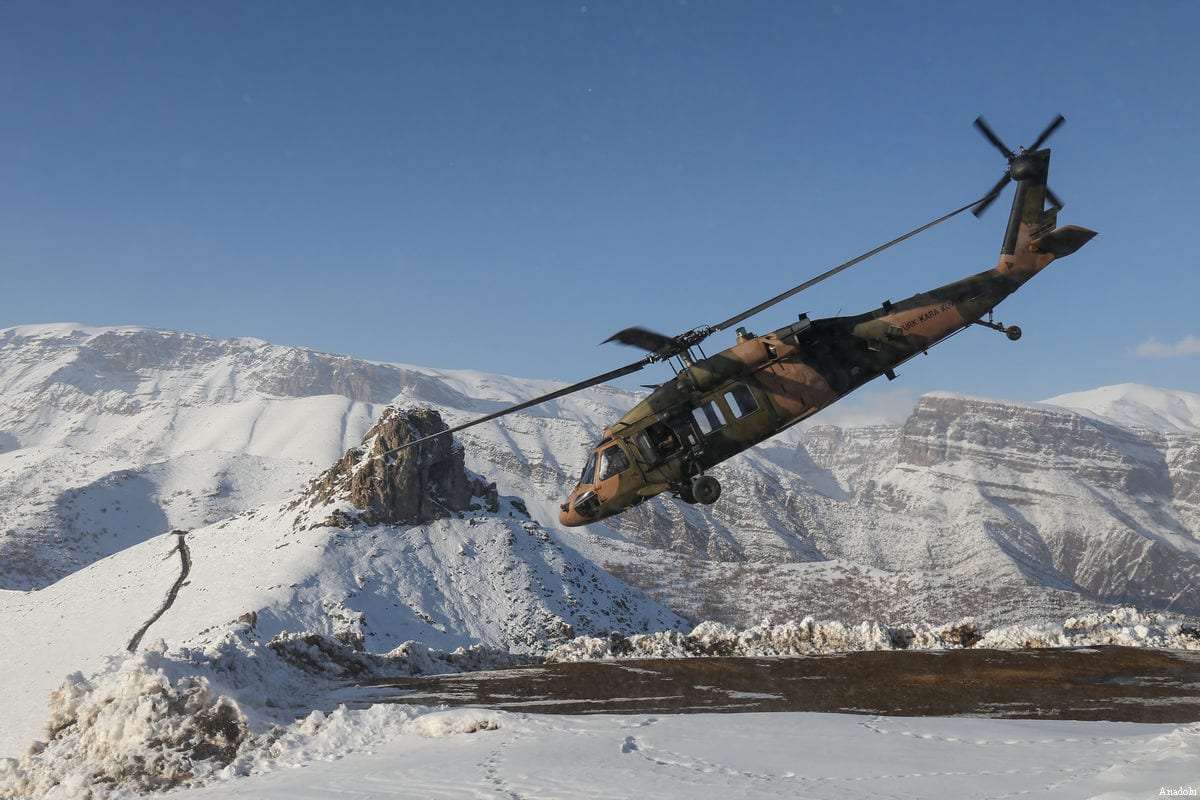 A Turkish military helicopter takes off during an operation against the PKK in Turkey on December 30 2016 ( Özkan Bilgin - Anadolu Agency )
