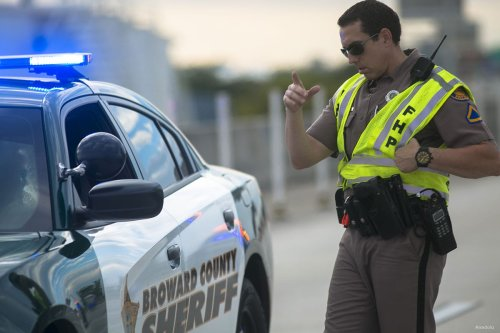 A Florida Highway Patrol officer ensures the only cars entering Fort Lauderdale International Airport are law enforcement officers on January 06, 2017 in Florida, USA.