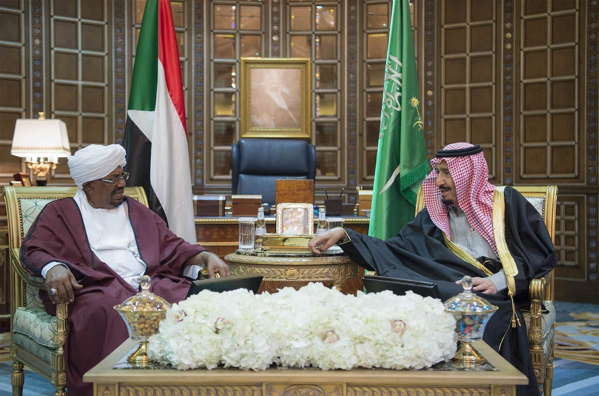 Saudi Arabia's King Salman Bin Abdulaziz Al Saud (R) speaks with President of Sudan Omar Al Bashir (L) during their meeting at Palace of Yamamah in Riyadh, Saudi Arabia on 23 January 2017. [Bandar Algaloud/Saudi Royal Council]