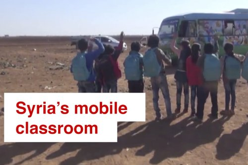 School bus in Syria turns into mobile classroom