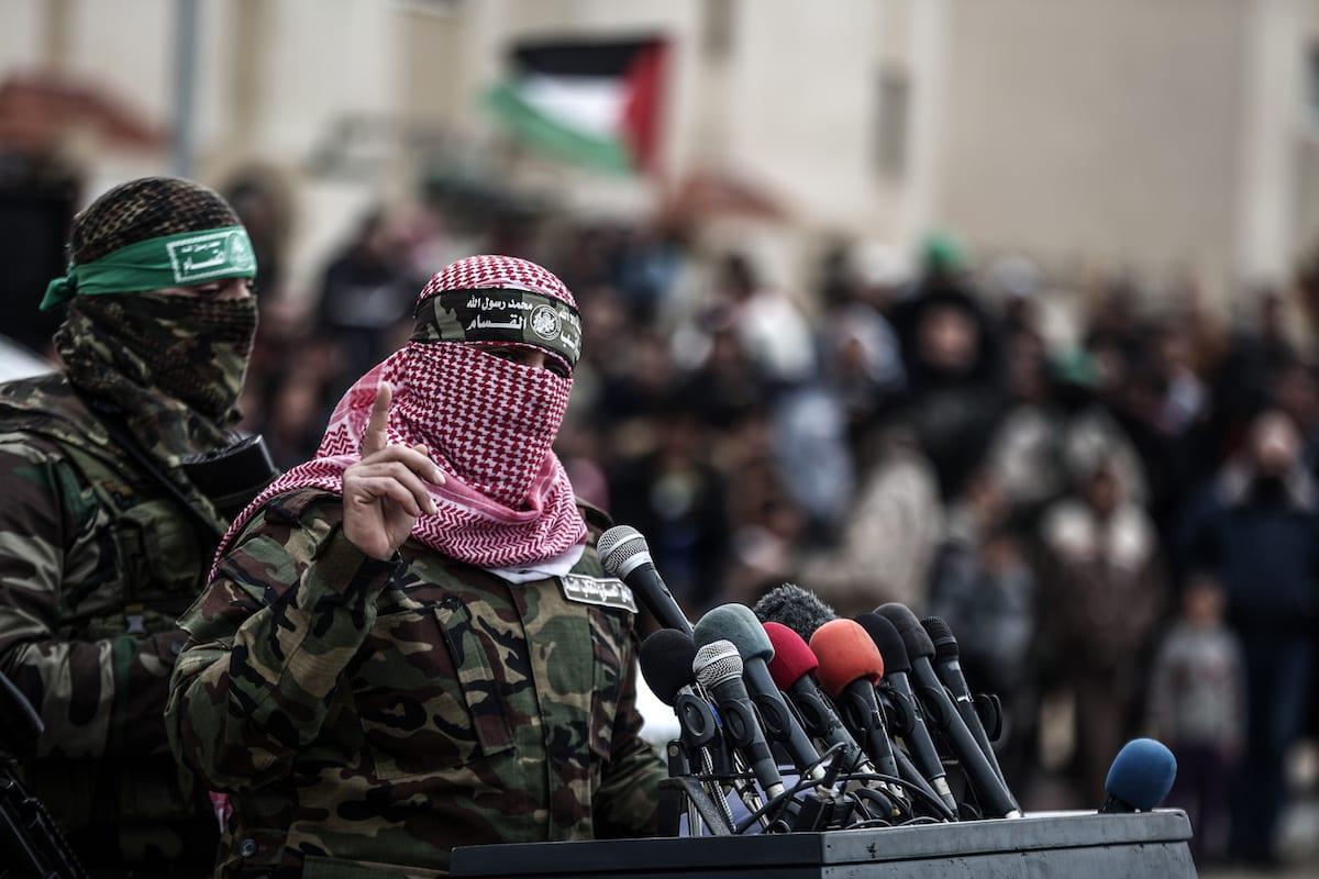 The armed branch of Hamas, Izz ad-Din al-Qassam Brigades spokesman, Abu Obeida speaks in Rafah, Gaza on 31 January 2017. [Ali Jadallah - Anadolu Agency]